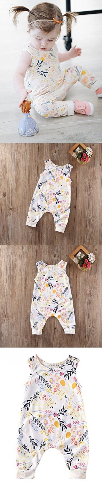 Baby Girl Sleeveless Sweet Floral Jumpers Rompers Bodysuit Playsuit Outfits (0-6 Month)