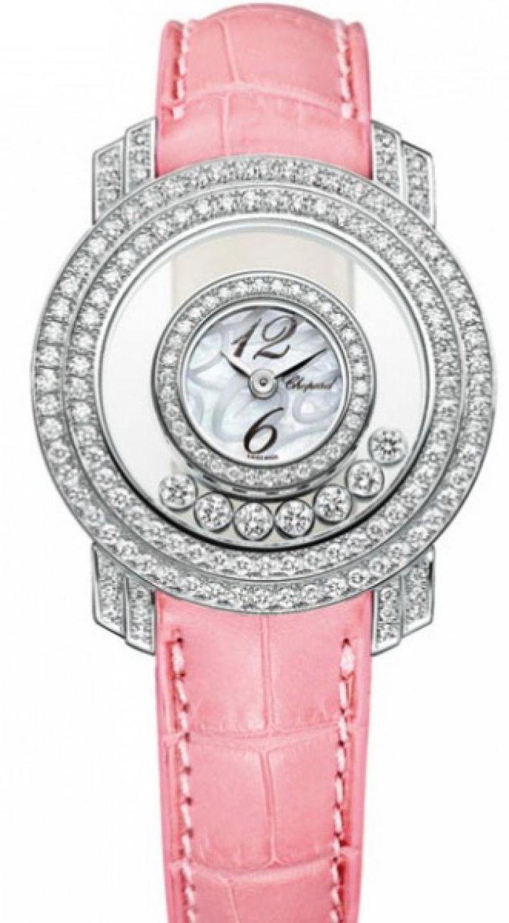Chopard 209245/1001 Happy Diamonds Round - 7 Diamonds - швейцарские женские часы - наручные, золотые с бриллиантами, белые, розовые