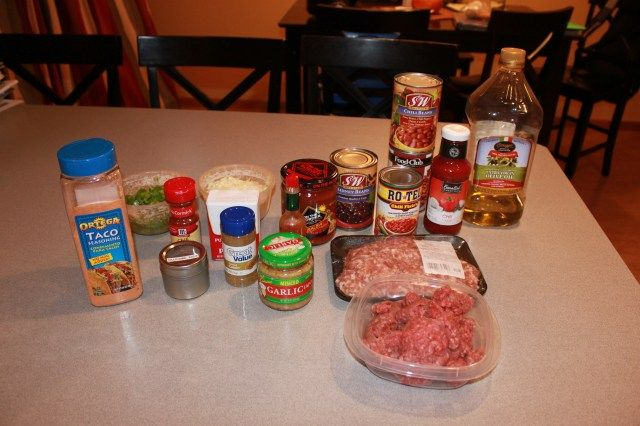 Easy Family Meals Award Winning Slow Cooker Chili Ingredients