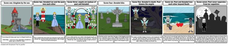 Module 3.1. Movie trailer storyboard.  Storyboard for video based on the poem Annabel Lee by Edgar Alan Poe, created with StoryboardThat, an easy online storyboard and comic creator. Once registered, you are entitled to a 14-day free trial.Once your storyboard has been created and saved, you can print it or download it as slide or power point presentation, pdf file, or high resolution images in a zip file. Amazing tool. By Mª Olga García Merino.
