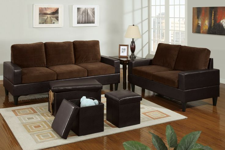Sofa+Love Seat+3-Pcs Ottoman - A timeless set of furnishings, this loveseat and sofa features a boxed faux leather frame and opulent microfiber seating for the ultra modern living room. Maximize the beauty of this set with a 3-piece faux leather ottoman set for a contemporary ambiance.