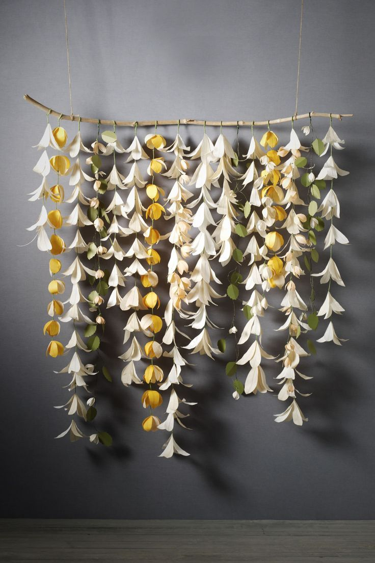 backdrop-twig and origami flowers