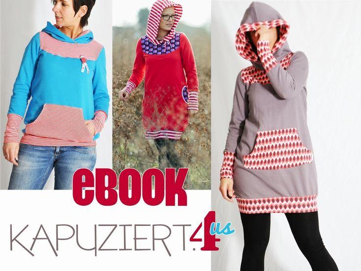 KAPUZIERT4us • Kapuzenpullover • Pullover mit Kapuze • Hoodie • Longpullover • Schnittmuster + Nähanleitung • leni pepunkt • sewing pattern • nähen