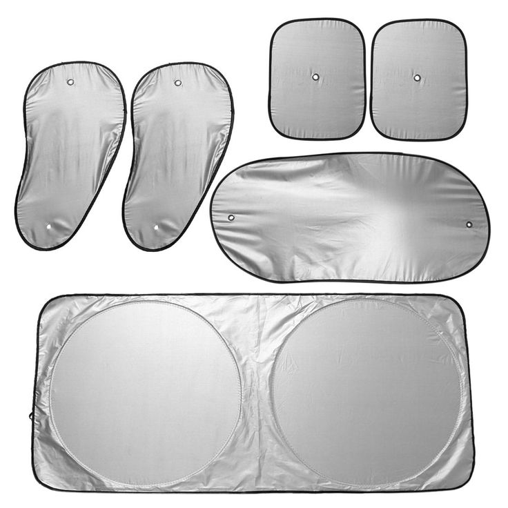 6 in 1 Silver Tone Car Front Windshield Side Rear Window Sun Shade UV Protection w Suction Cup