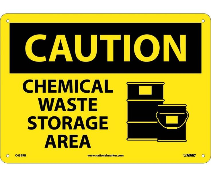 Caution, CHEMICAL WASTE STORAGE AREA, GRAPHIC, 10X14, Rigid Plastic