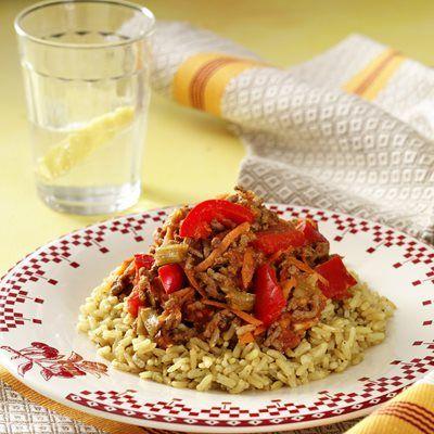 Indisk keema karry - med brune ris