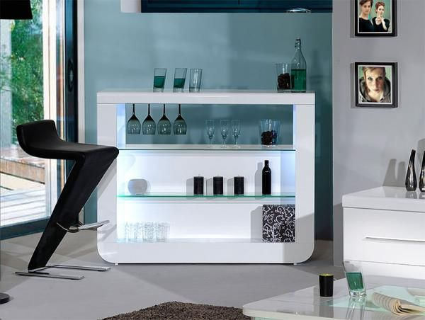 Sciae Floyd Contemporary High Gloss White Drinks Cabinet Bar With Glasses And Stool French FurnitureContemporary FurnitureLiving Room