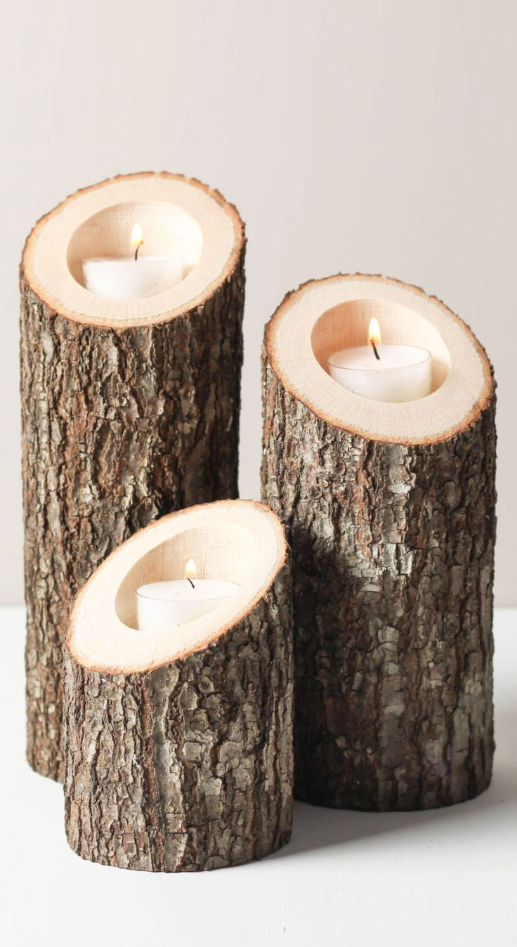 Tree branch wood bark - tea light candle votive holder set #product_design