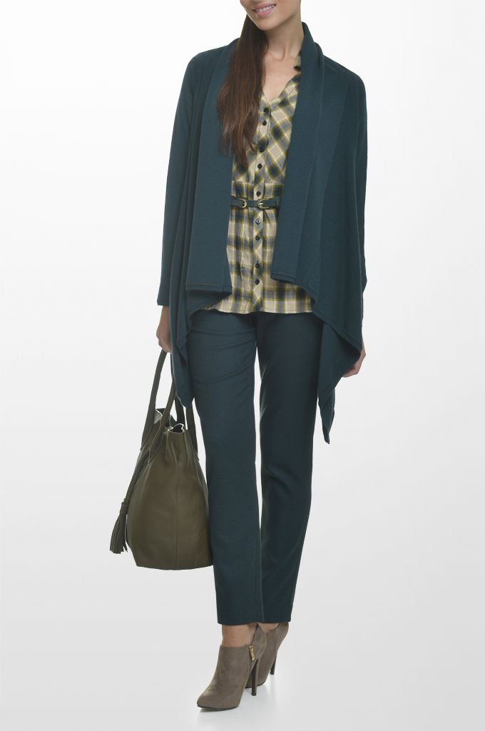 Sarah Lawrence - asymmetrical open placket cardigan, long sleeve checked shirt, straight leg pied de poule pant, leather belt.