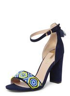 Womens Navy 'Sizzle' Beaded Sandals- Blue