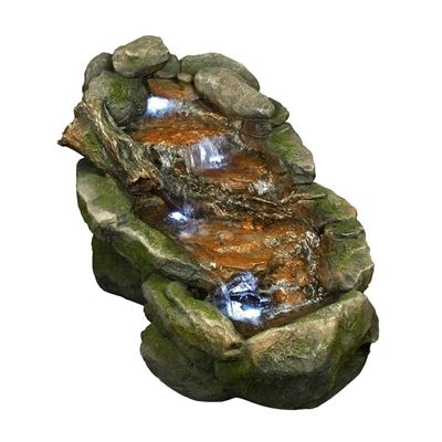 Flat Rock Stream Fountain With LED Lights: Turn Your Backyard Into A  Babbling Brook! Looks Just Like A Real Rock Waterfall!