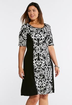 Cato Fashions Plus Size Scroll Panel Print Swing Dress Catofashions