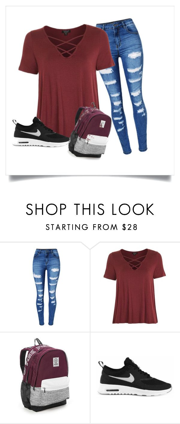 """School"" by emilymccullough-i on Polyvore featuring WithChic, Topshop, Victoria's Secret and NIKE"