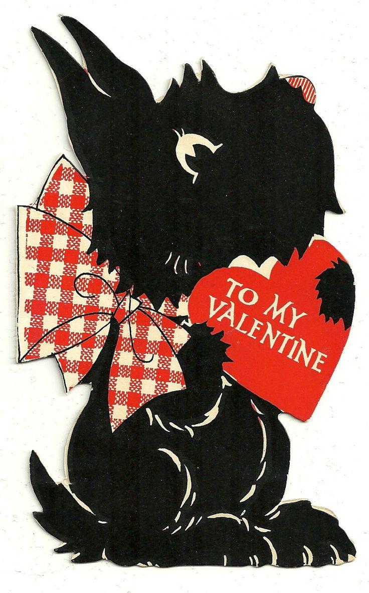 Scottie Dog with A Valentine Message Vintage Diecut Scotty Valentine Card | eBay