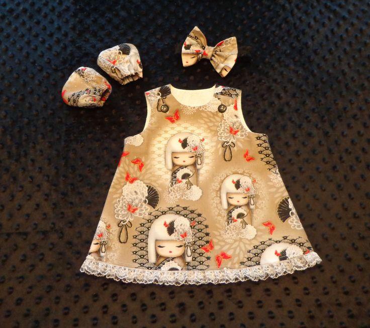 Baby Dress, Headband, Scratch Mitts 0-3 mo.*RARE RETIRED KIMMIDOLL ASIAN FABRIC* #Handmade