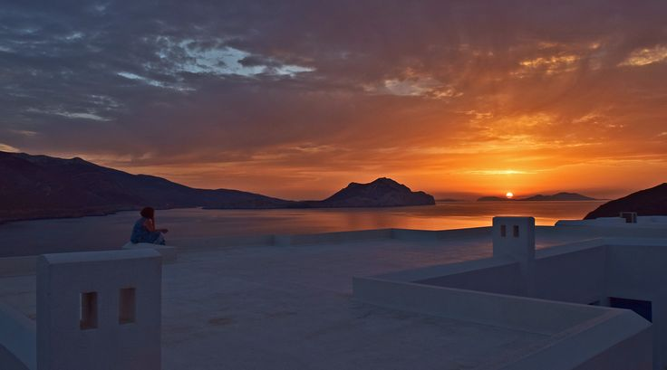 Sunset over the Aegean islands ! View from Aegialis Hotel !