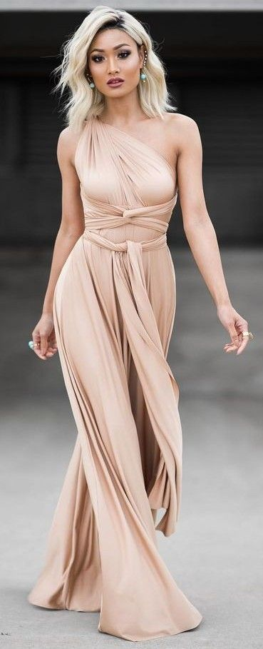 #Street #Fashion | Nude Grecian Vibing Gown |Micah Gianneli