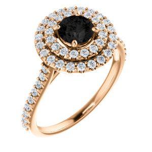 Rose gold engagement ring with 0.50ct black diamond & meleediamonds - #highendjewelley #designerjewellery #  #goldsmiths