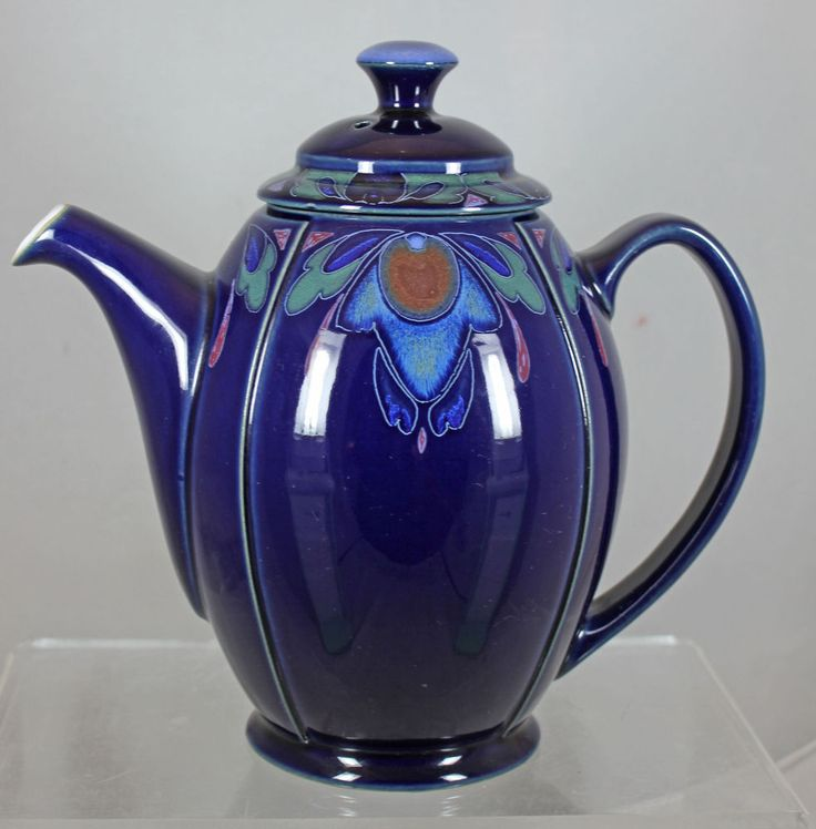 "Vintage Denby ""Baroque"" Art Deco Cobalt Blue Coffee Tea Pot Mint, Lid ""As Is"" #Denby"