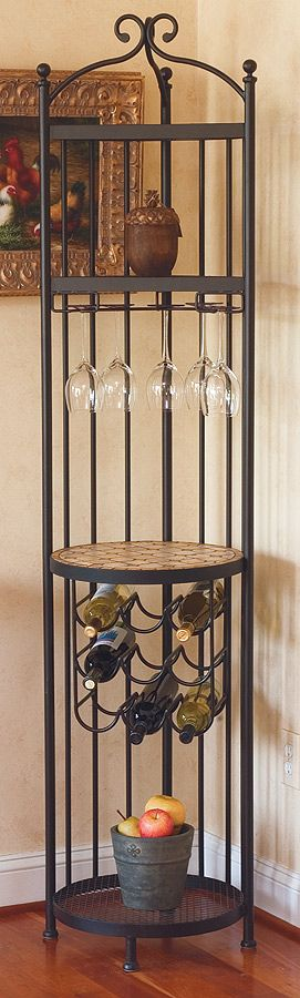 Iron Forged Corner Bar w Wine Rack & Glass Storage