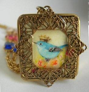 bluebird of happiness miniature music box necklace $100