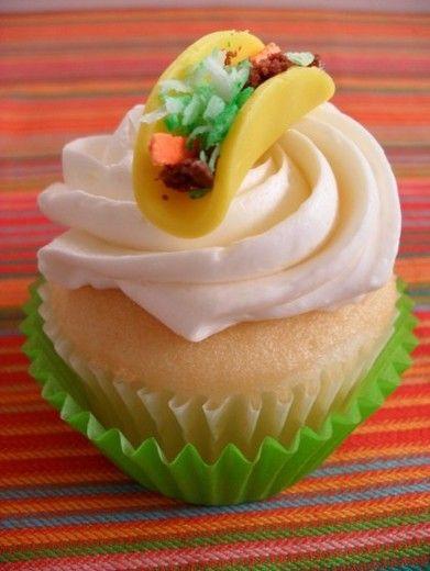 Taco cupcake: Mexican Cupcakes, Idea, Tacos, Taco Cupcakes, Mayo ...