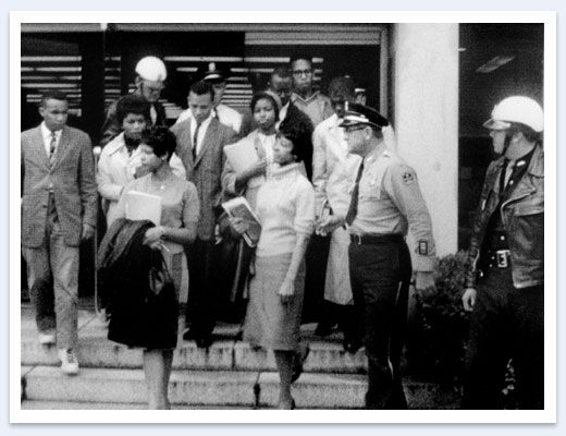 """""""Tougaloo Nine"""" Nine members of the NAACP Youth Council — Meredith Anding, Samuel Bradford, Alfred Cook, Geraldine Edwards, Janice Jackson, Joseph Jackson, Albert Lassiter, Evelyn Pierce, and Ethel Sawyer — attempt to use the white-only Jackson public library on March 27, 1961. They sit quietly at different tables reading books that are not available in the """"colored"""" library. When the nine refuse to leave, they are arrested for """"Disturbing the Peace"""" and become known as the """"Tougaloo Nine."""""""