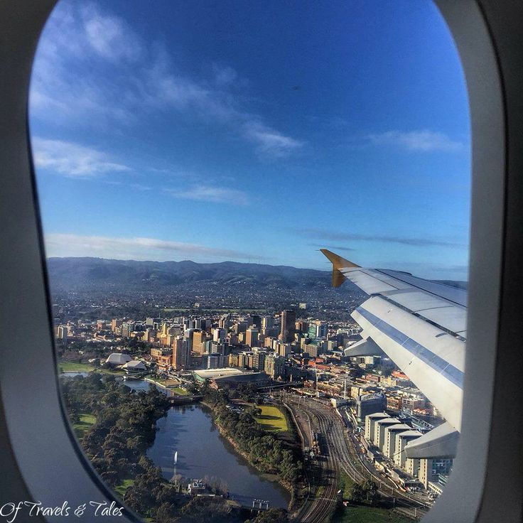 A magnificent view from a plane window of Adelaide city.