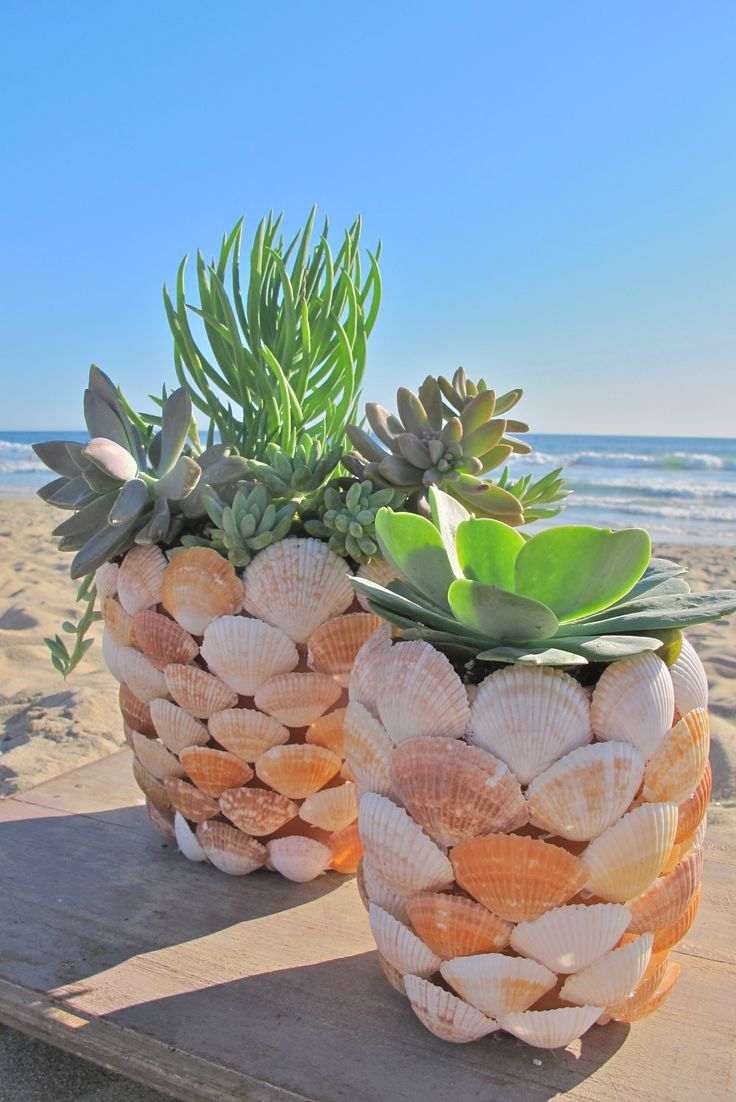 Decor nautical shell mirrors w sea glass starfish amp pearls blue - Learn How To Make This Beachy Diy Shell Planter