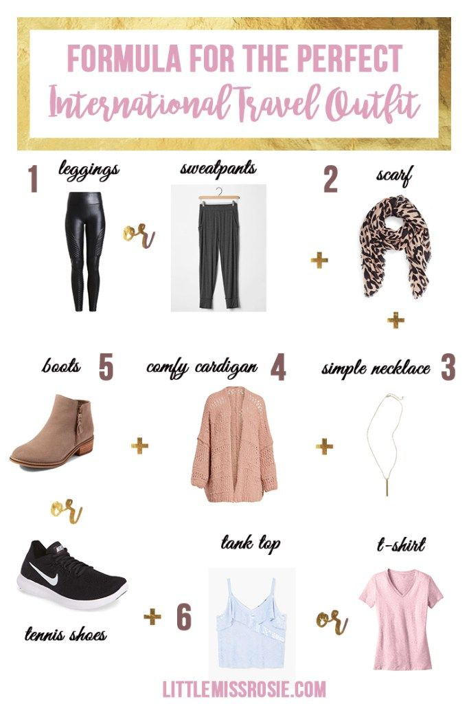 You don't need to sacrifice comfort for fashion when it comes to airplane travel. Here is the formula for the perfect international travel outfit!