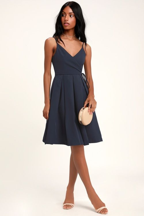 0f0c3c2a373 Thinking About You Navy Blue Pleated Faux Wrap Midi Skater Dress in ...