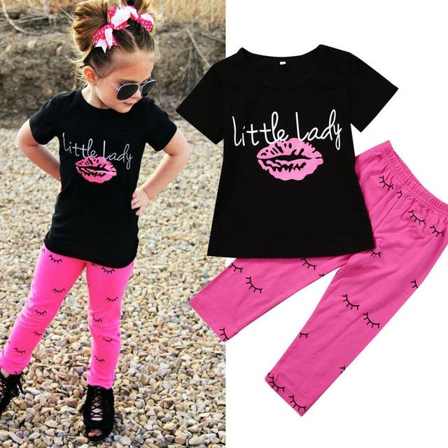 Shorts Pants Clothes Outfits Set 2PCS Toddler Kids Baby Girls T-shirt Tops