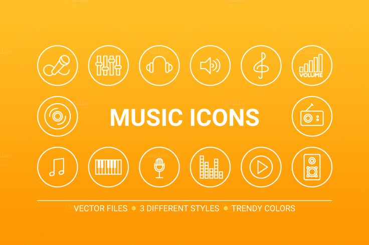 Circle music icons by miumiu on Creative Market