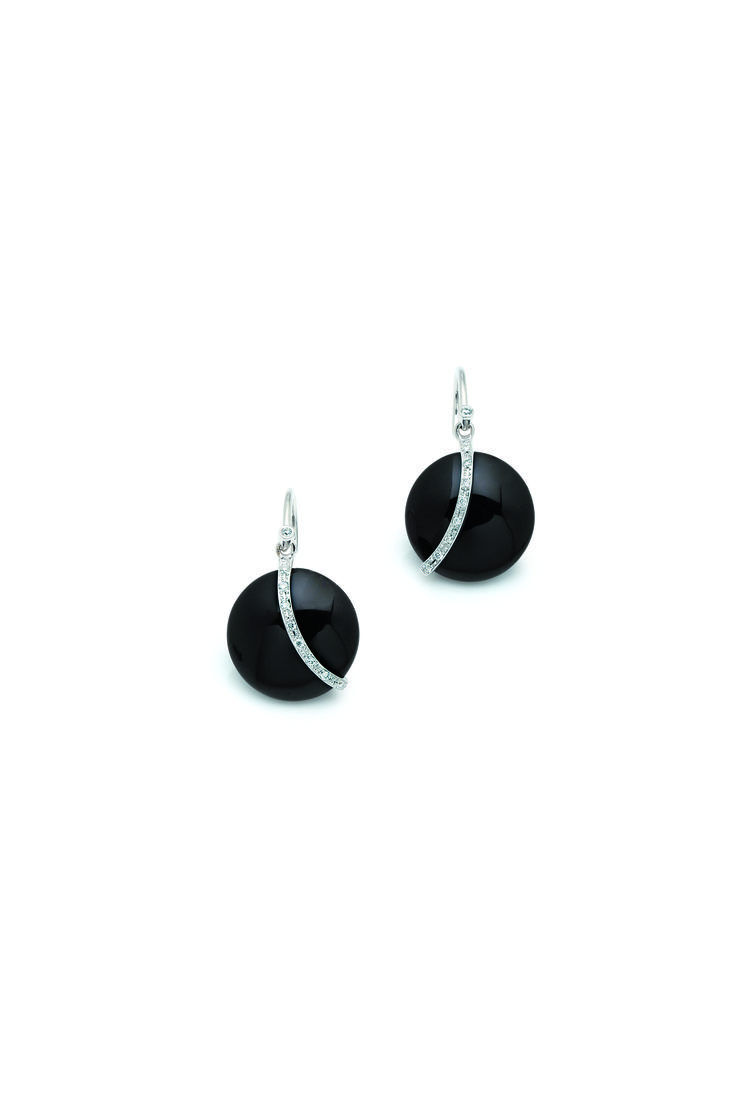 """Charlotte onyx art deco earrings in white gold and diamonds. Limited edition """"Future Glam""""."""