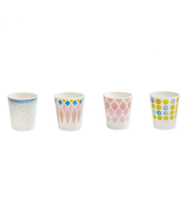 Set 4 cups porcelain