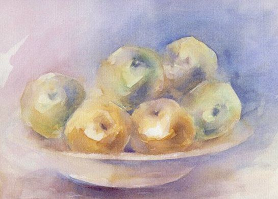 Acuarela ORIGINAL, título MANZANAS.  Medidas 44x32. Tema frutas. de EspacioCanalla en Etsy