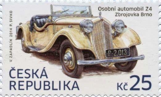 o automóvel Z4, do fabricante Zbrojovka Brno, construído a partir de 1933 e posto em exposição no «Praga Motor Show». O selo, desenhado por Václav Zapadlik, representa um dos automóveis da colecção de Vlasta Burian.