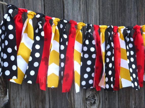 Mickey Mouse Inspired Rag Tie Garland - Fabric Banner on Etsy, $25.00