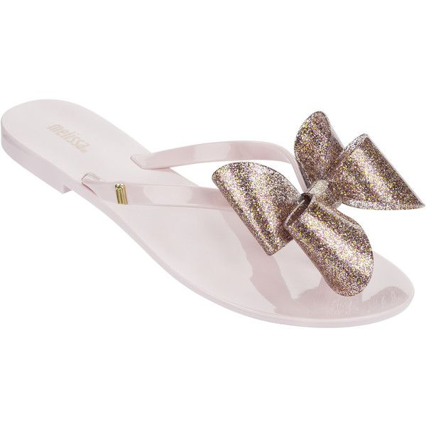 Melissa Harmonic Glitter Bow Candy Pink ($56) ❤ liked on Polyvore featuring shoes, sandals, flip flops, summer sandals, summer flip flops, pink sandals, melissa shoes and melissa flip flops