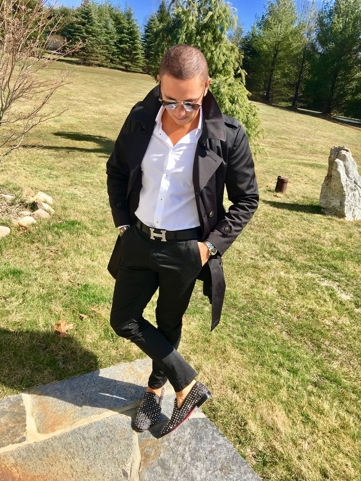 Black and white posh mens fashion, Mens Hermes, Limited edition Camo Titanium Christian Louboutin loafers, Burberry trench, Rolex, Christian Dior sun glasses.  Follow instagram: Thefashionjetsetter