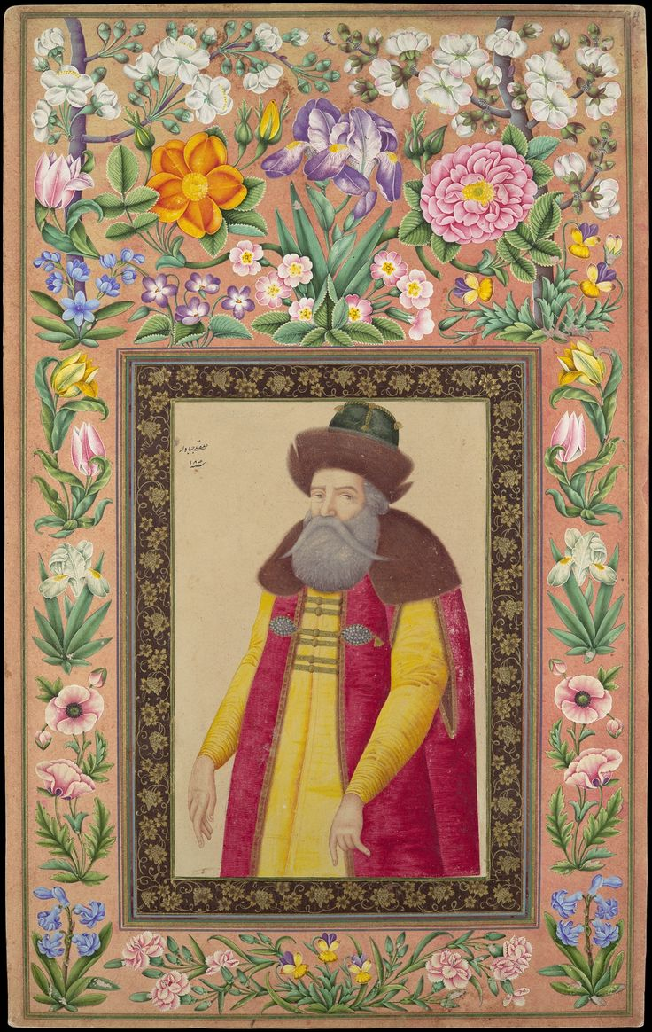 """""""Portrait of the Russian Ambassador, Prince Andrey Priklonskiy"""", Folio from the Davis Album Artist: 'Ali Quli Jabbadar (active 1642–late 17th century) Object Name: Illustrated album leaf Date: A.H. 1048/A.D. 1673–74 Geography: Iran"""