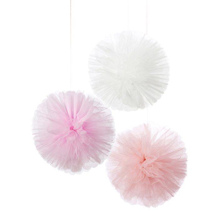 Decoratie Pompons - www.confettienco.be #decoratie #verjaardag #feest #pompon #kleur #colour #webshop #tule