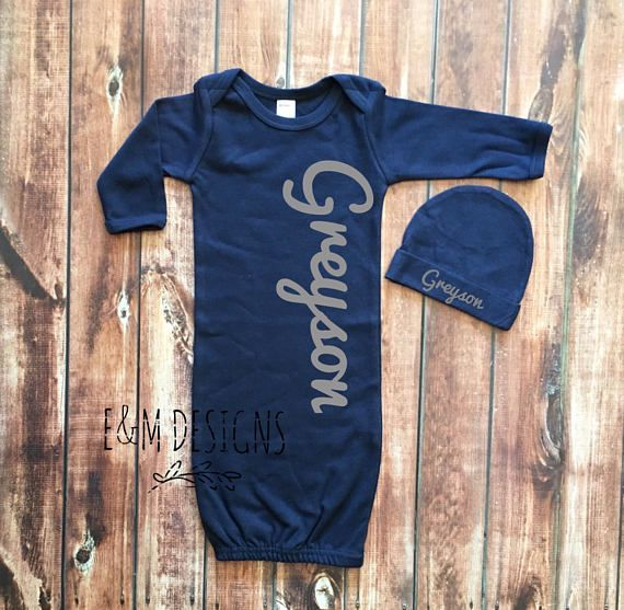Baby Boy Coming Home Outfit Newborn Boy Monogrammed Gown and