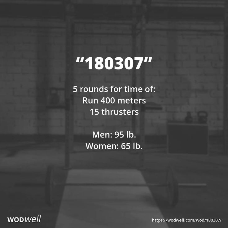 """""""180307"""" WOD - 5 rounds for time of:: Run 400 meters; 15 thrusters; Men: 95 lb.; Women: 65 lb."""