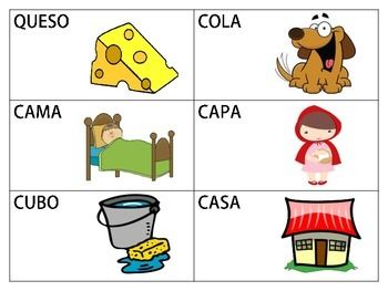 18 Flashcards of Spanish CVCV Words with the /k/ Sound in the Initial Position.18 Tarjetas de Palabras en Espaol con el Sonido /k/ en la Silaba Inicial.