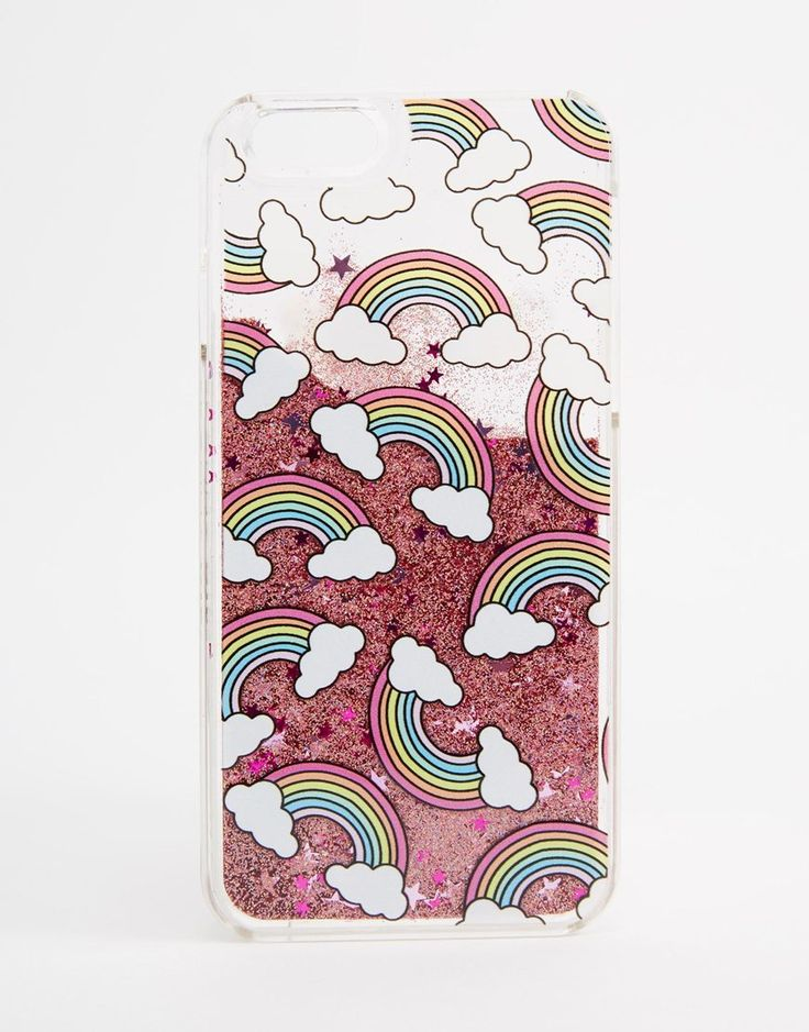 Image 1 of Skinnydip Rainbow Print Liquid Glitter iPhone 6/6s Case