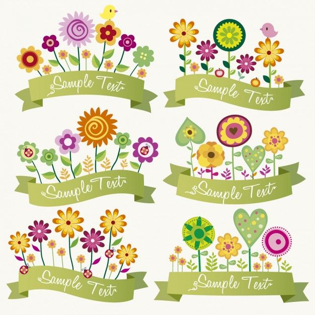 Free vector Ribbons with colorful flowers #34000