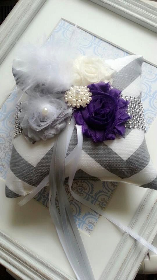 Shabby Chic Ring Pillow In Purple Weddings Ring by ModishBride, $45.00