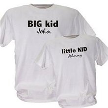 Big Kid Little Kid Matching Personalized Father Child T-shirts. Personalized T-shirts for Kids of any age! Whether the kid in your family is Big or Little, we have the perfect Personalized Kid T-shirt for them to wear. Personalized T-shirts for your Big Kid  Little Kid are available on our premium machine washable 100% Cotton T-Shirt in adult sizes S-3XL and in youth sizes XS-L. Your new custom printed t-shirt can be any of 7 colors: Orange, Navy, Green, Red, White, Ash or Black.: Kids T Shirts, Personalized Kids, For Kids, Color, Kids Matching, Big Kids