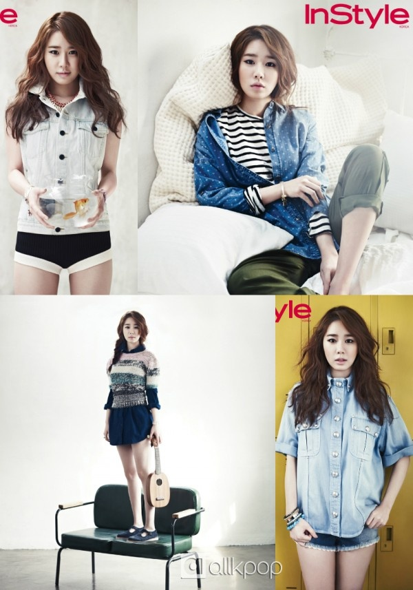 Yoo In Na takes on the denim trend for 'InStyle'